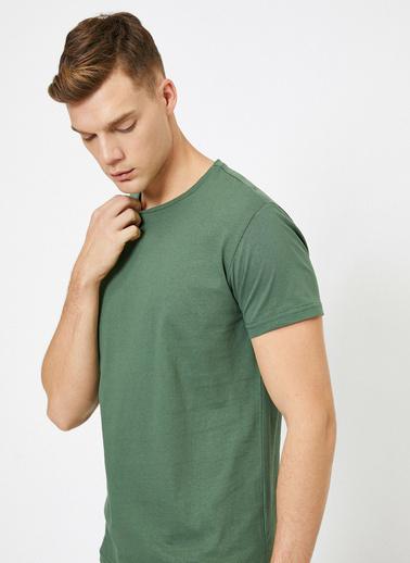 Koton Bisiklet Yaka %100 Pamuk Slim Fit Basic T-Shirt Yeşil